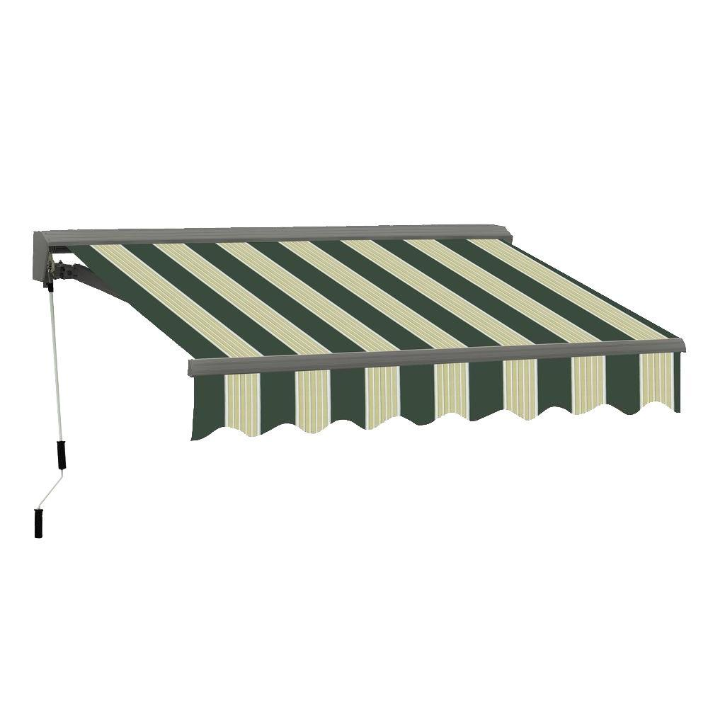 Advaning 16 Ft Classic C Series Semi Cassette Electric With Remote Retractable Awning 118in Projection In Green Cream Stripes Ea1610 A222h Retractable Awning Patio Awning Awning