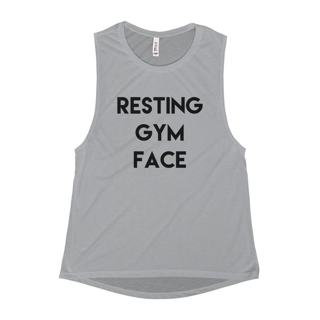 75f59d273f457a Resting Gym Face Scoop Neck Muscle Tank. Resting Gym Face Scoop Neck Muscle  Tank Cute Workout Tanks ...