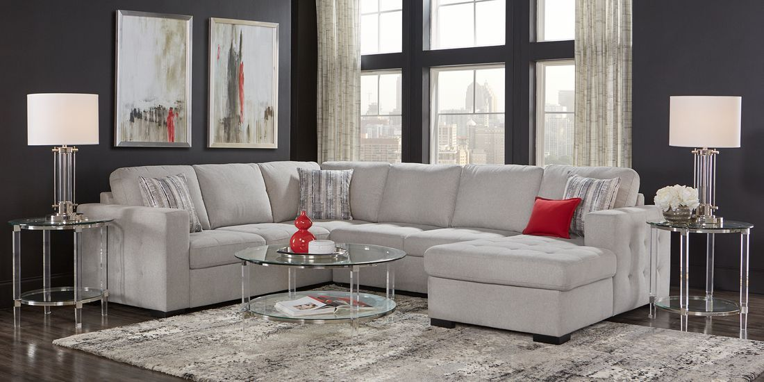 Angelino Heights Gray 3 Pc Sleeper Sectional In 2020 Living Room