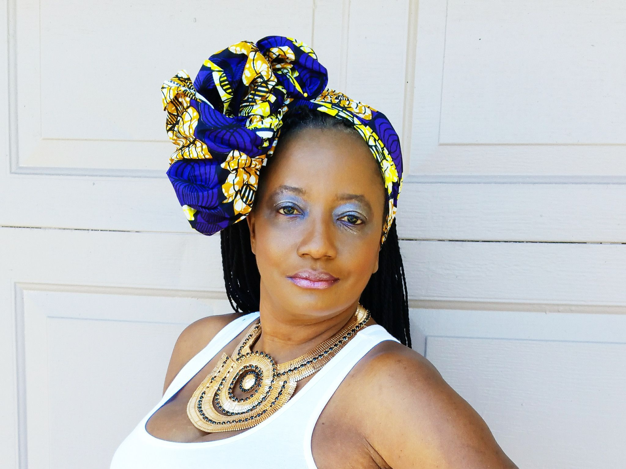 Yellow and Blue african print headwrap