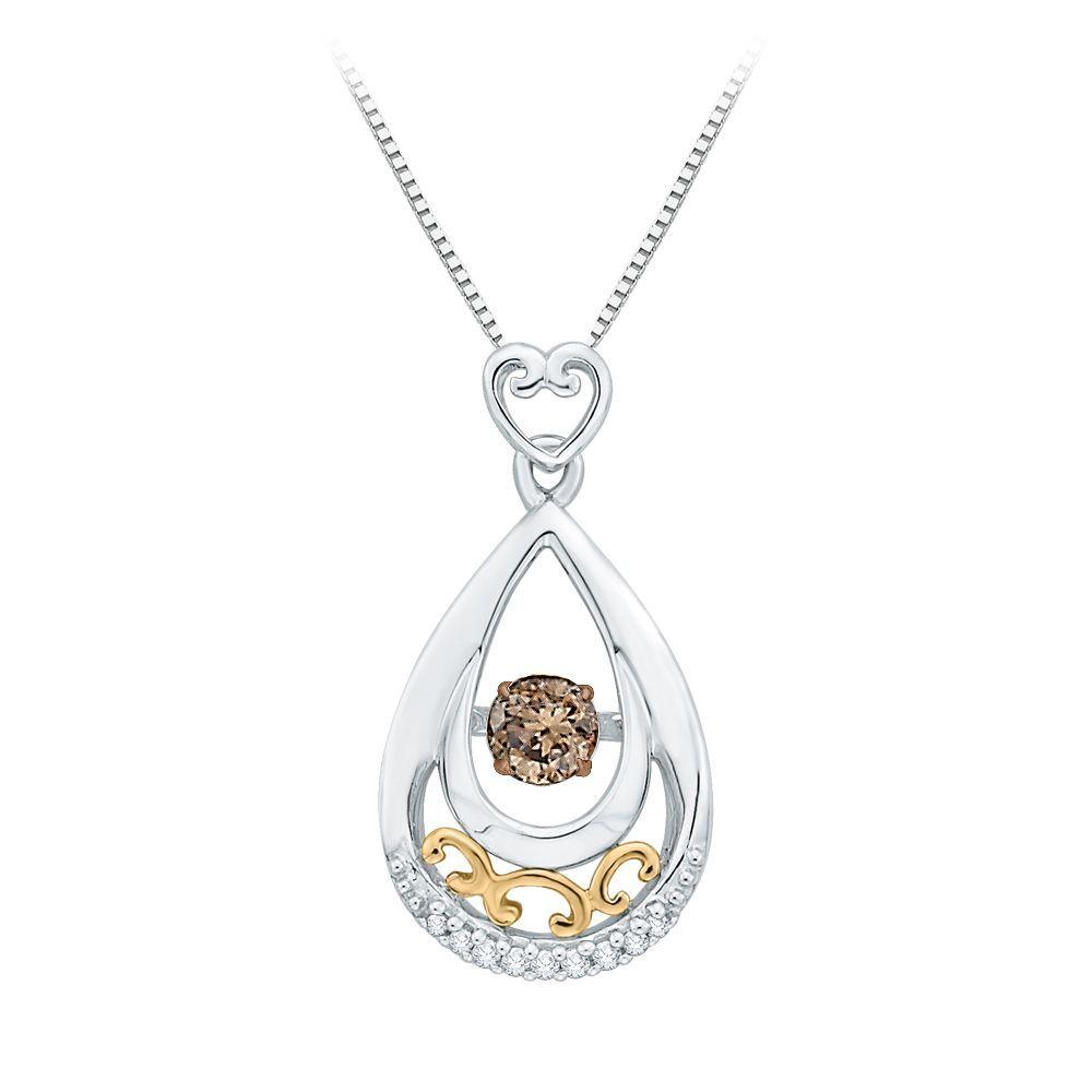 K twotone gold ct tdw brown and white diamond fashion pendant