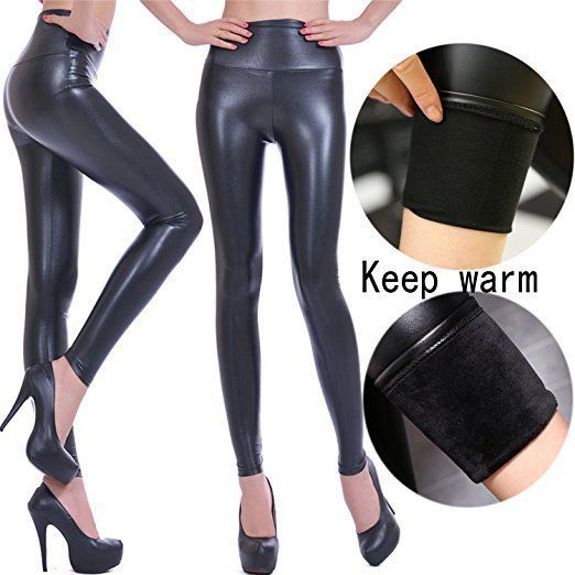 e372d359d0eb9f Women Slim Elastic Trousers High Waist Leather Leggings Casual Street Pants  TS #fashion #clothing
