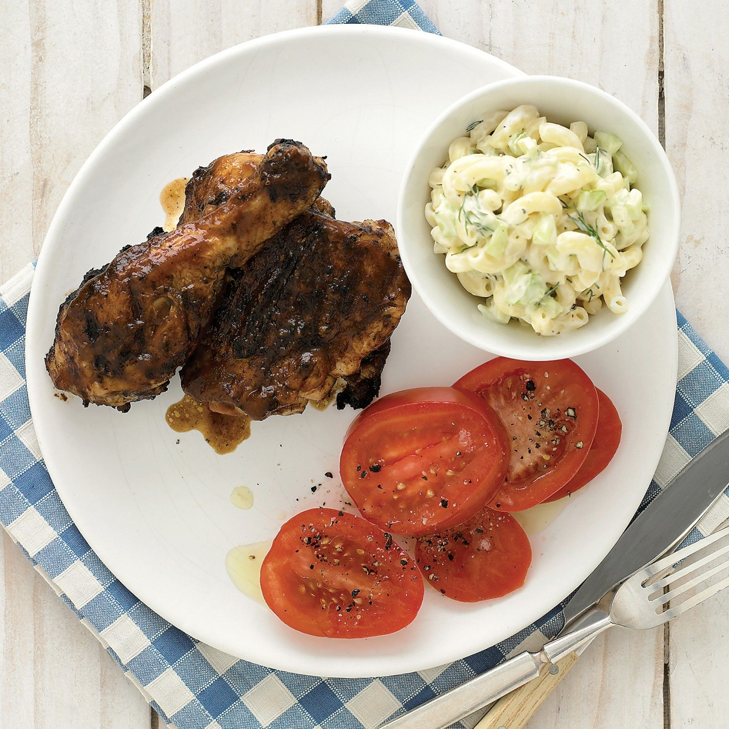 Head for Dixieland with two jazzy standbys: spicy-sweet chicken and creamy macaroni salad.