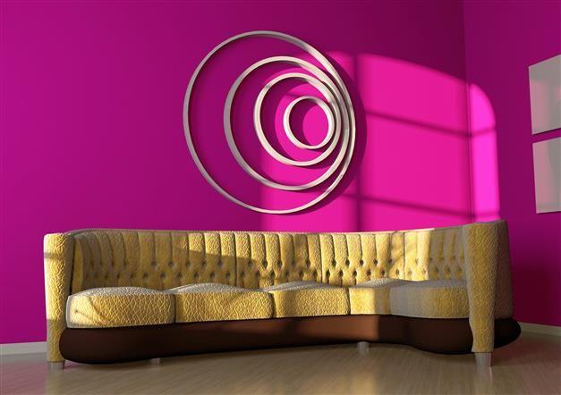 Charmant #salon aux murs d\u0027un rose fushia puissant Pour