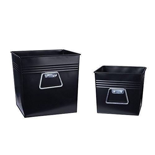 Delightful Metal Storage Bins Boxes Storage Office Study Decorative 2Piece Set  Bathroom New