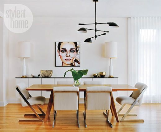 Mid Century Modern Glamour Canada Style At Home Magazine Sarah Blakely Dining Room Jessica Rae Sommer Portrait Art Painting