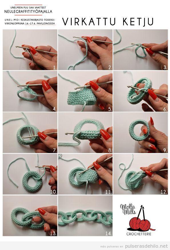 Tutorial paso a paso para hacer una pulsera de ganchillo o crochet ...