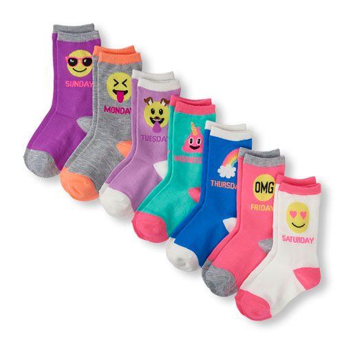 Days Of The Week Socks Girls Days Of The Week Emoji Crew Socks 7 Pack Girls Accessories