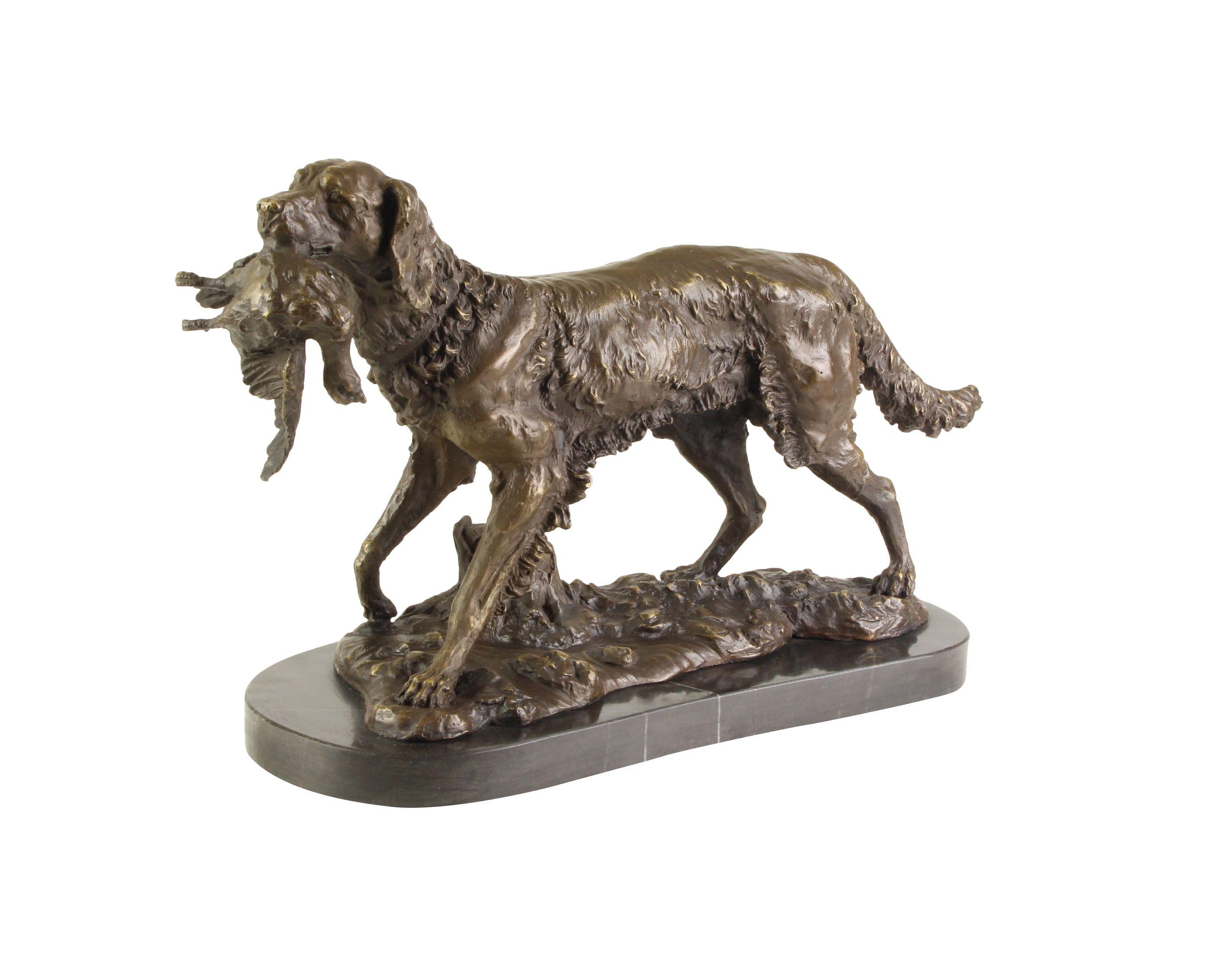Bronzeskulptur Jäger Jagdhund Bronze Jagd Hund Figur Skulptur Antik-Stil