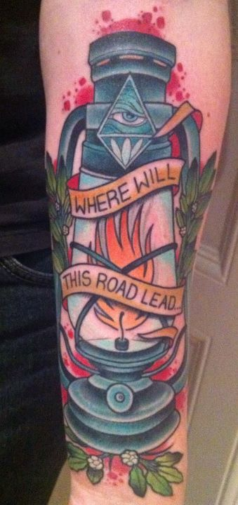 Where Will This Road Lead Lamp Tattoo Graphic Design Tattoos Tattoos