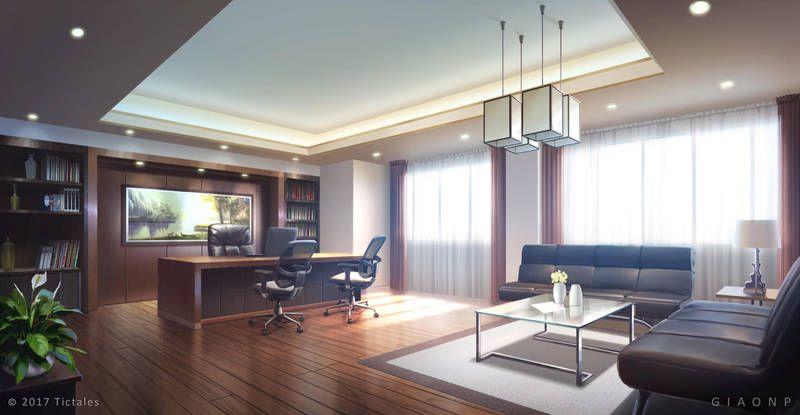 Luxury Office Day Visual Novel Background By Giaonp Dizajn