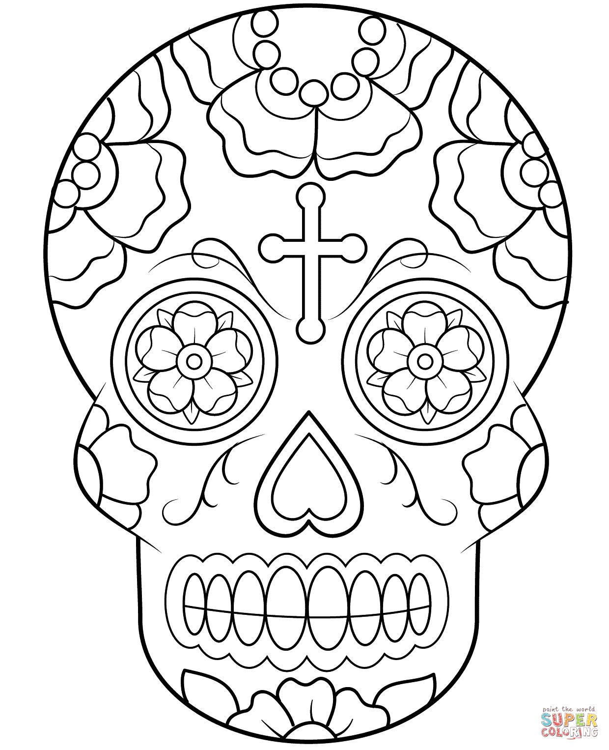 Calavera (Sugar Skull) | Super Coloring | Coloring Pages | Pinterest
