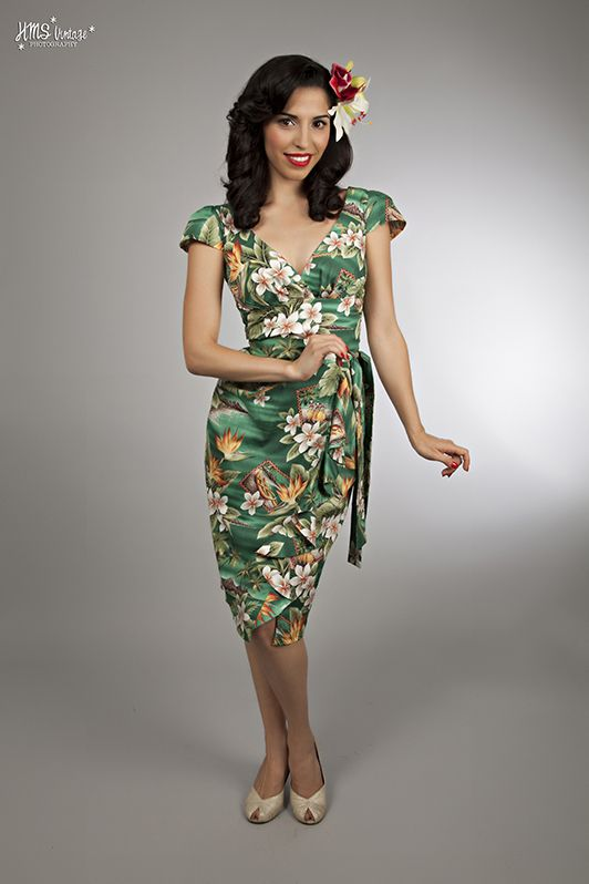 Tea dress 1940s vintage style dress with sleeves fashion for Hawaiian wedding dresses with sleeves