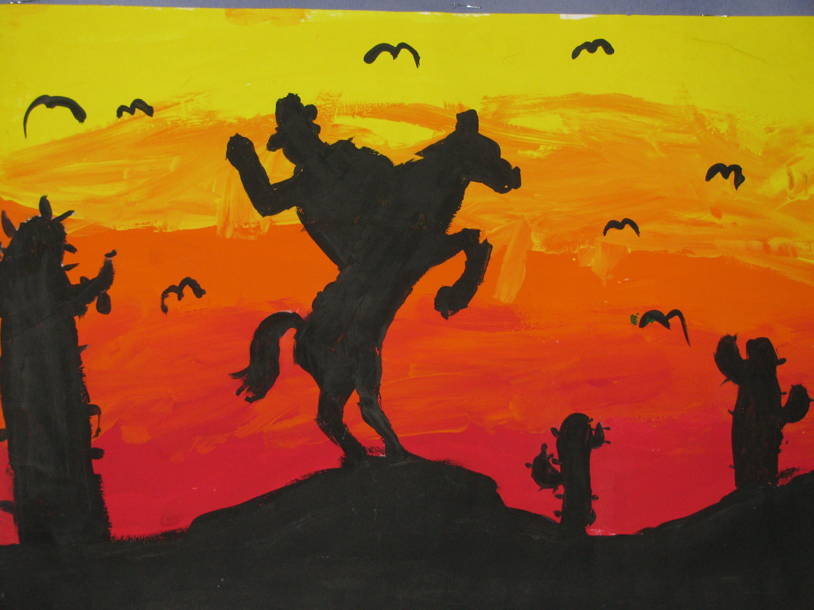 "3rd grade sunset silhouette painting; 12""x18""; lesson designed by ... for silhouette art projects for kids  288gtk"