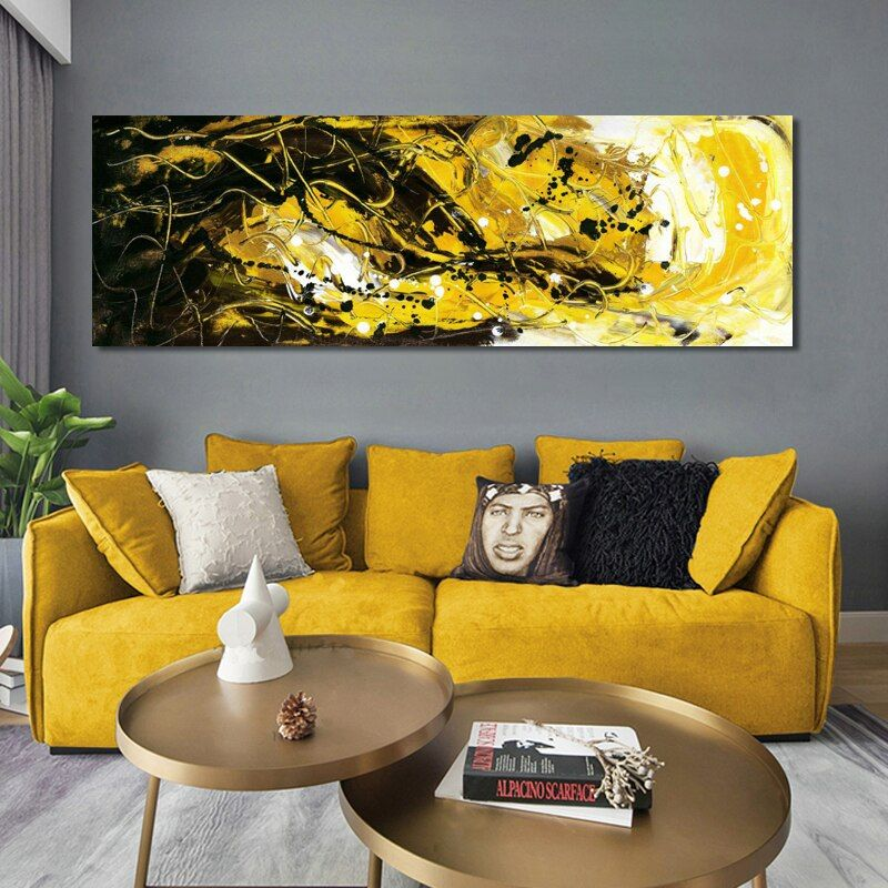 Posters And Prints Wall Art Canvas Painting Abstract Black And Golden Yellow Wall Art Pictures For Living Room Cuadros Decor In 2021 Yellow Wall Art Wall Art Canvas Painting Contemporary Wall Decor Contemporary wall painting living room