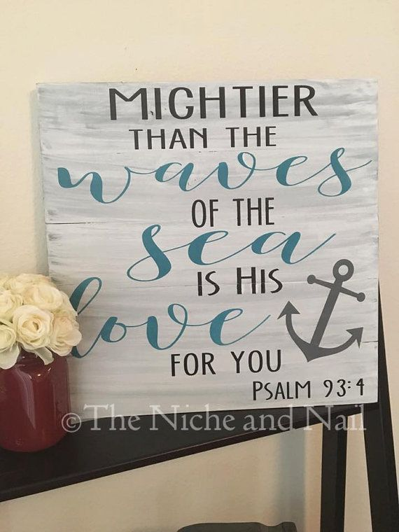 Charming Psalm 93:4, Gift For Her, Bible Verse Decor, Religious Decor, Gift For Him,  Gift For Her, Rustic Bedroom Decor, Wood Sign, Home Decor