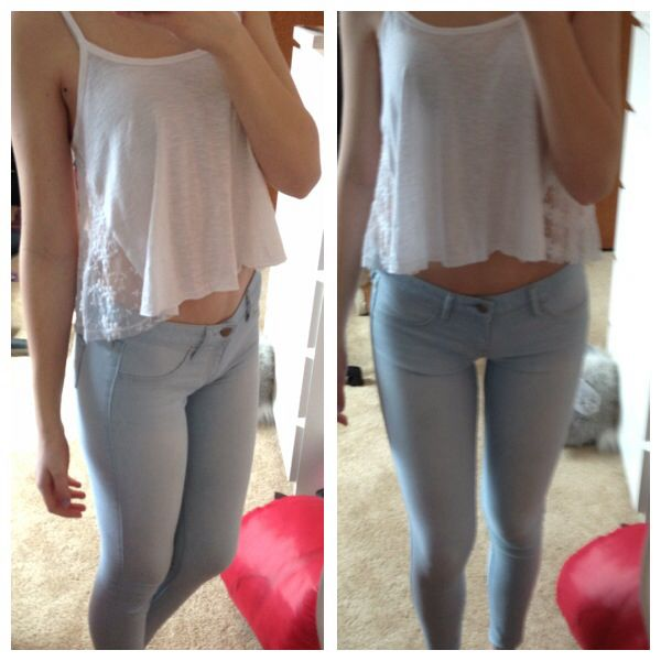 White Lace cropped fly-away tank--Hollister Light-wash Jeggings-- - White Lace Cropped Fly-away Tank--Hollister Light-wash Jeggings