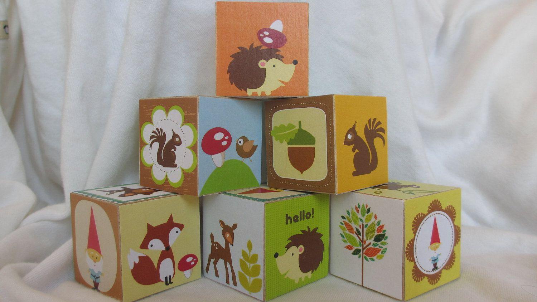 Owls Jungle Animals Wooden Bedroom Furniture Kids: Woodland Creature Owl Hedgehog Gnome Wood Blocks Nursery