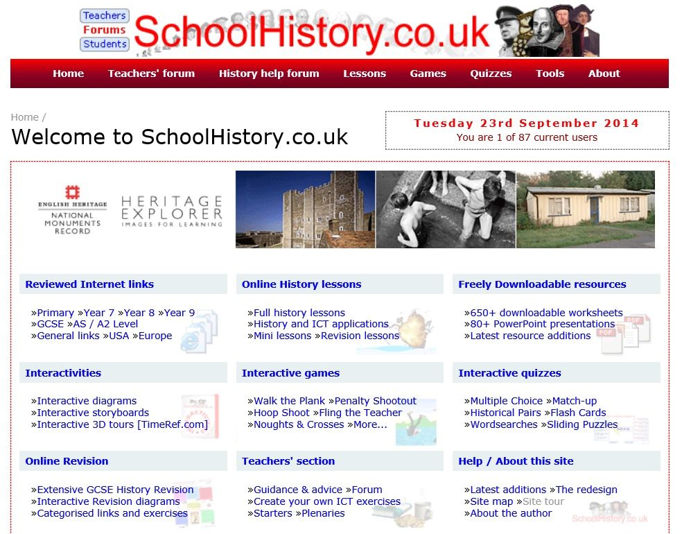 A UK website for teachers of History.  I came here via the teachers' forum I'd discovered, looks like a good place to find ideas on teaching History.