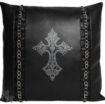 Goth Cushion - Diamante Crucifix and Chains