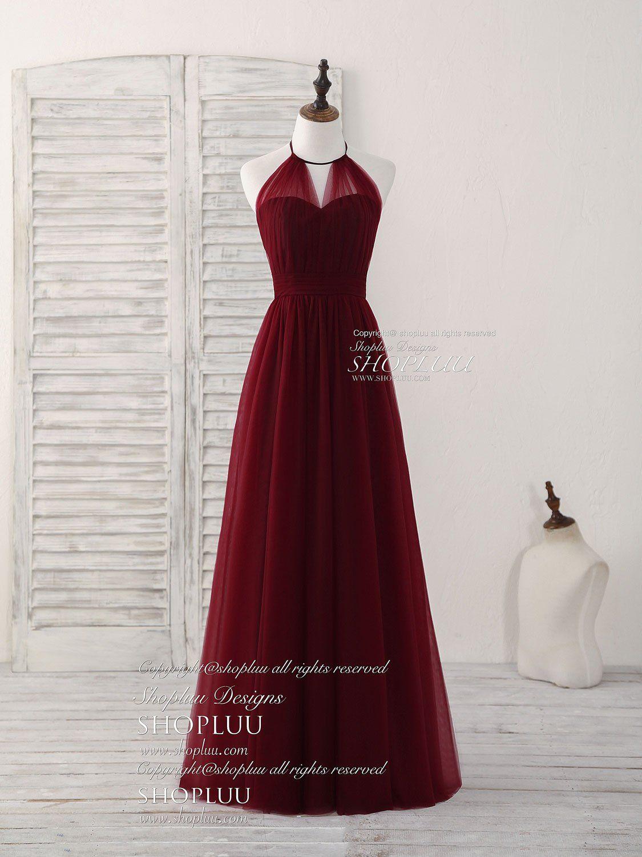 Simple burgundy tulle long prom dress burgundy bridesmaid dress in