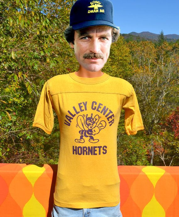 056d89fe2 vintage 70s t-shirt VALLEY CENTER football jersey hornets high school yoke  Large Medium gold bantams