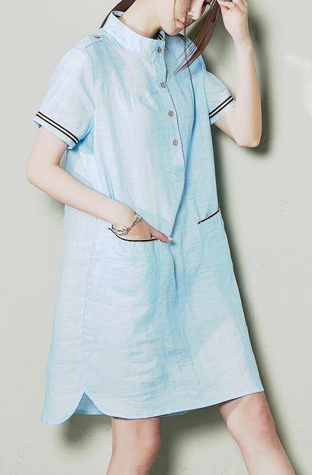 8983134ba52 Blue plus size linen sundress oversize linen summer dress shift shirt blouse