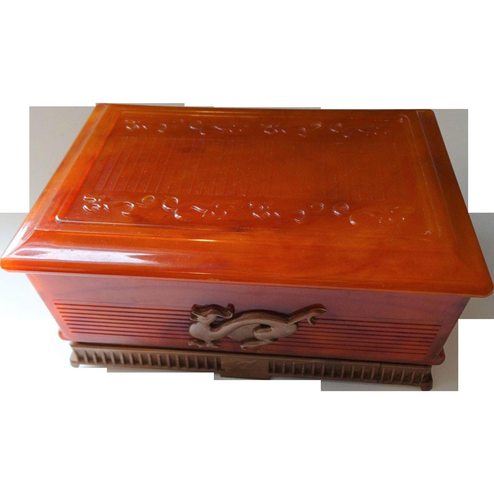 Art Deco Lucite Jewelry Box Deltah Vintage 1940s Amber Dragon