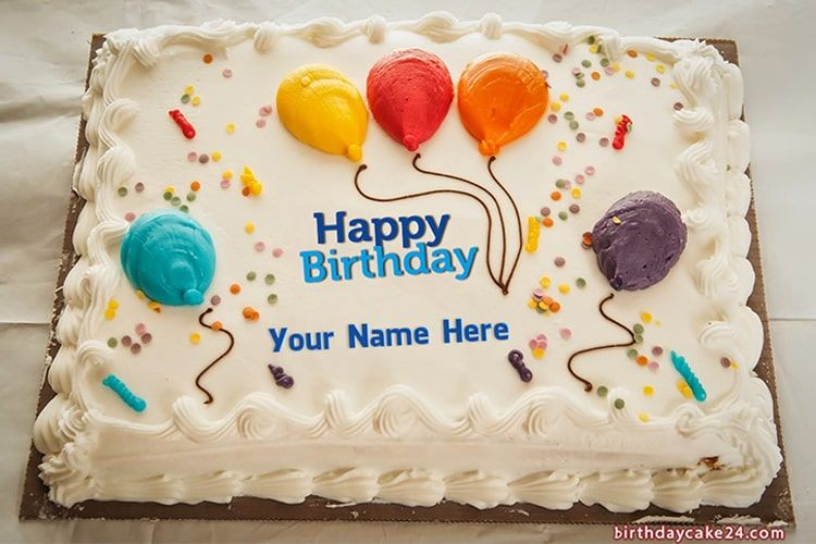 Happy Birthday Cake With Colorful Balloons With Name Edit
