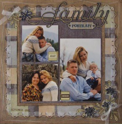 scrapbook page and of family portrait blue, brown, punch corners. See my blog for more details.