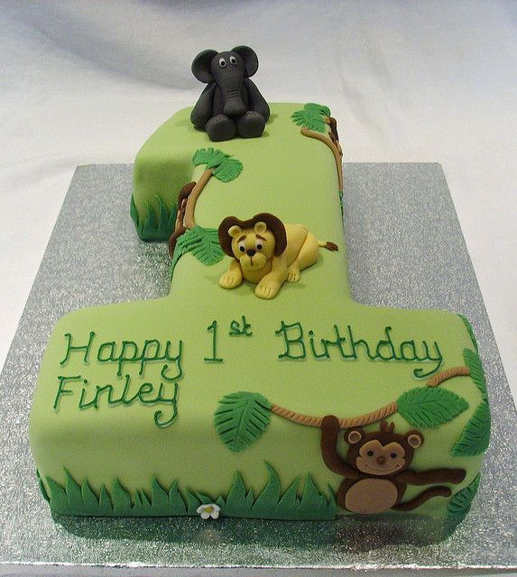 Jungle Themed Number One Cake With Images Jungle Birthday