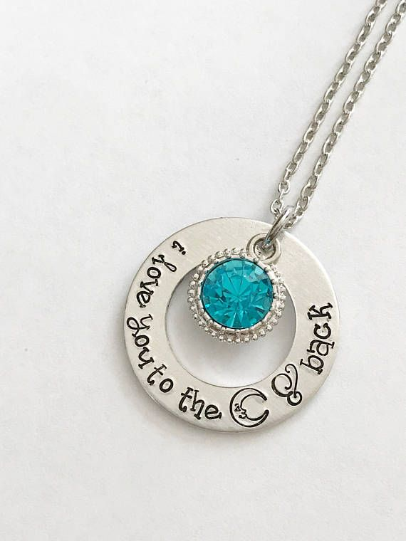 86d4aa0dca Love you to the moon and back - Hand stamped necklace - Moon and ...