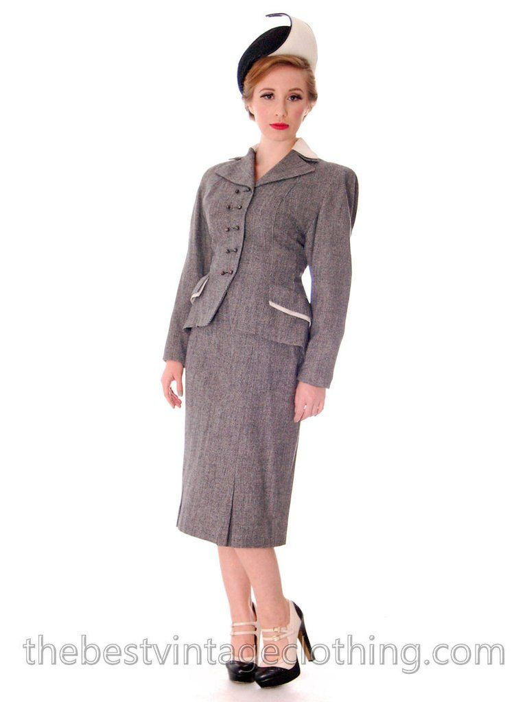 Nos Vintage Suit 1940s Womens Black White Tweed 32 24 35 Hot Style