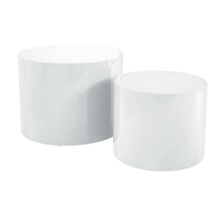 Circular Gloss Stacking Tables White White Side Tables Side