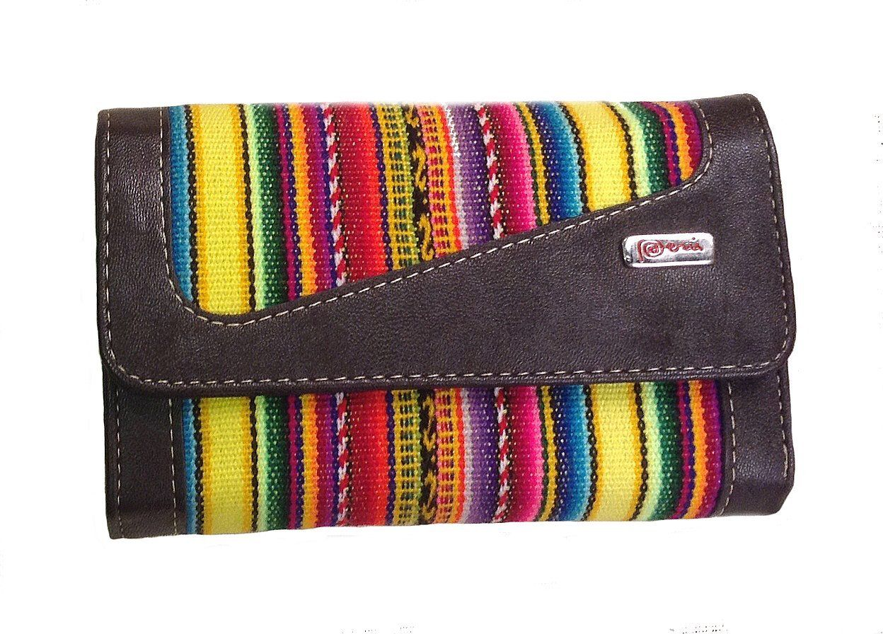 Damen Geldbörse Geldbeutel Portemonnaie aus Peru, Mantastoff mit ...