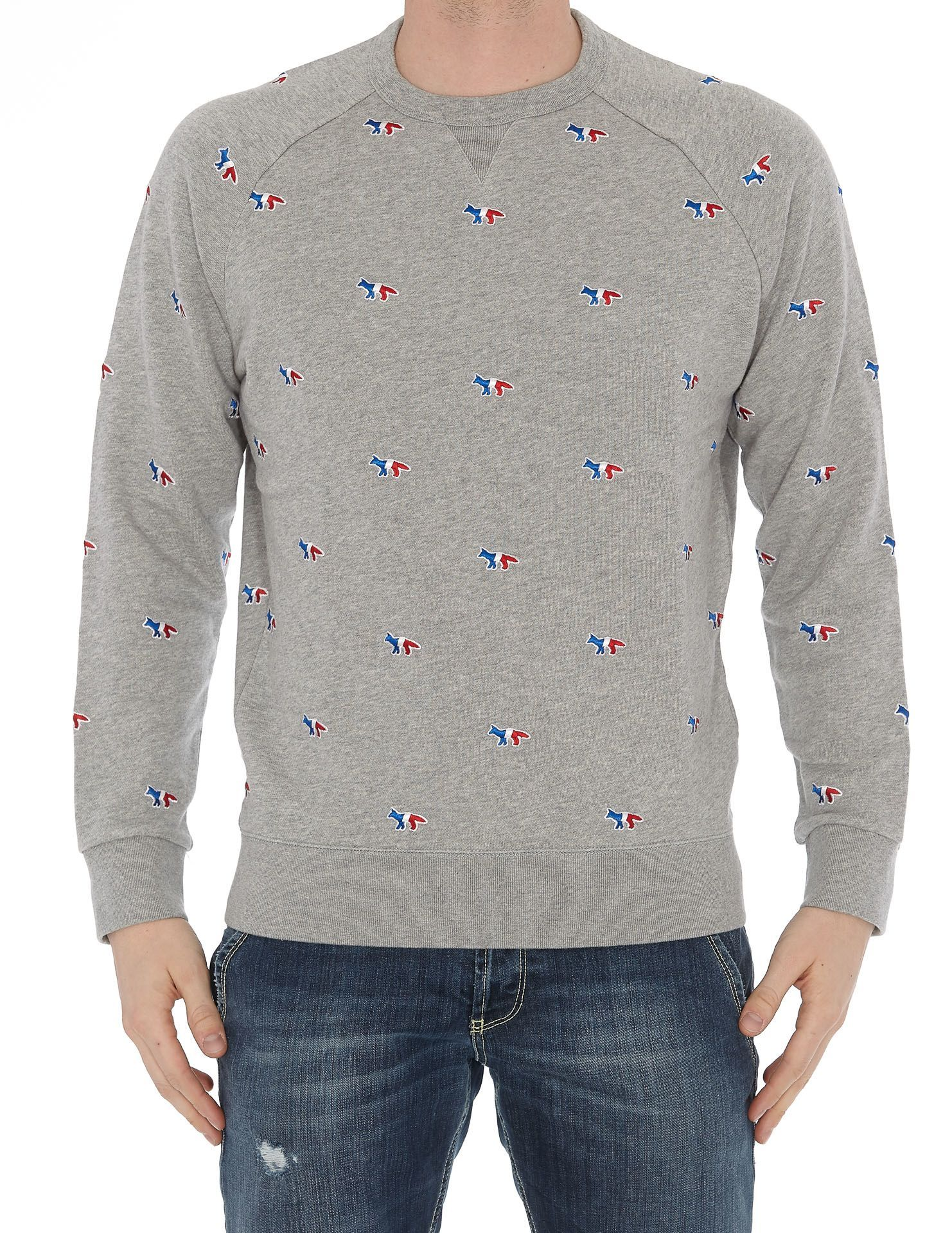 Maison Kitsune Sweatshirt All Over Tricolor Fox Maisonkitsune Cloth Sweatshirts Kitsune Maison Maison Kitsune [ 1920 x 1482 Pixel ]