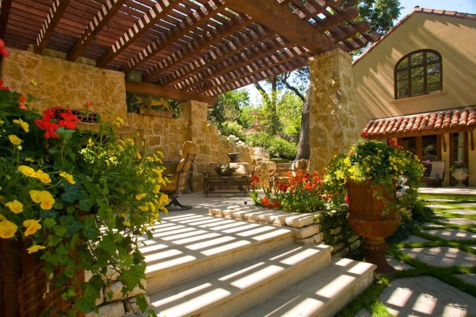 Bon Outstanding Image Of Tuscan Garden Decor For Home Exterior Design And  Decoration: Inspiring Ideas For Home Exterior Decoration With Tuscan Garden  Along With ...