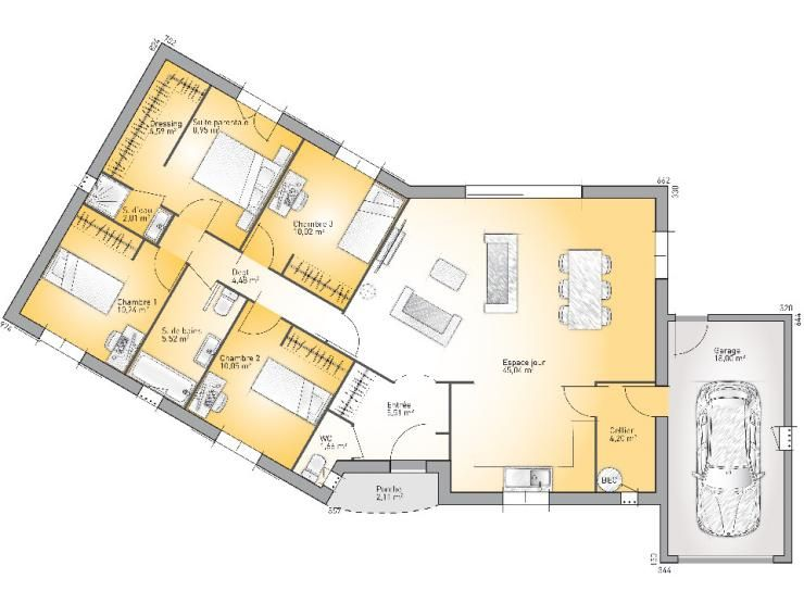 Plans de maison mod le performa maison traditionnelle for Plan maison 3 chambres suite parentale
