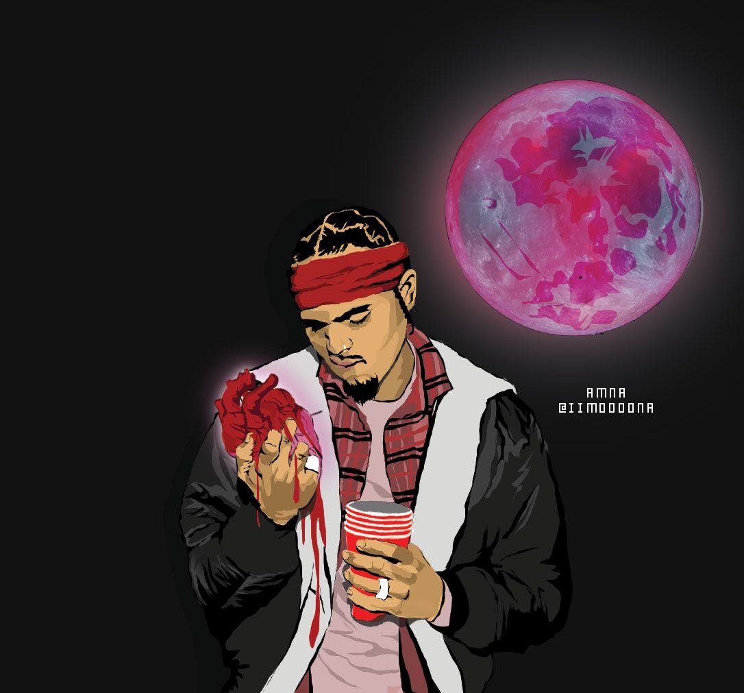 Heartbreak on a full moon Chris brown drawing, Chris