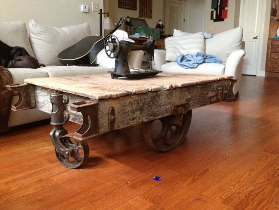Vintage Industrial Factory Cart Coffee Table Cart Coffee Table