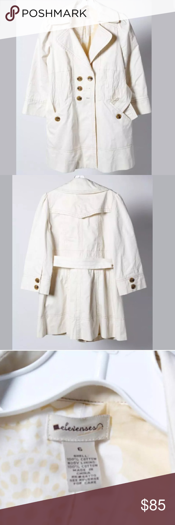 ❄️⚪️❄️ELEVENSES DOUBLE BREASTED, BELTED COAT❄️⚪️❄️ ⚪️❄️THIS PRE-OWNED ELEVENSES DOUBLE BUTTON, BELTED COAT IS IN VERY GOOD CONDITION • The measurements were taken with item laying flat, un-stretched and posted in inches below....  Size on tag: 6 Shoulder to Shoulder: 14 Armpit to Armpit:18.5 Sleeve Length:20 Total Length:32 ❄️⚪️ Elevenses Jackets & Coats Trench Coats