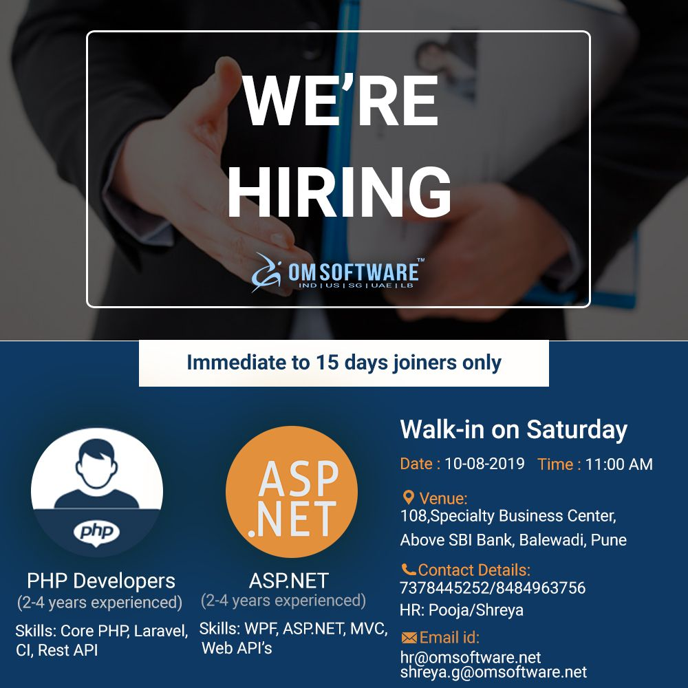 Hiring For Php And Dotnet Developer At Omsoftware Pune Web Development Company Development Web Development