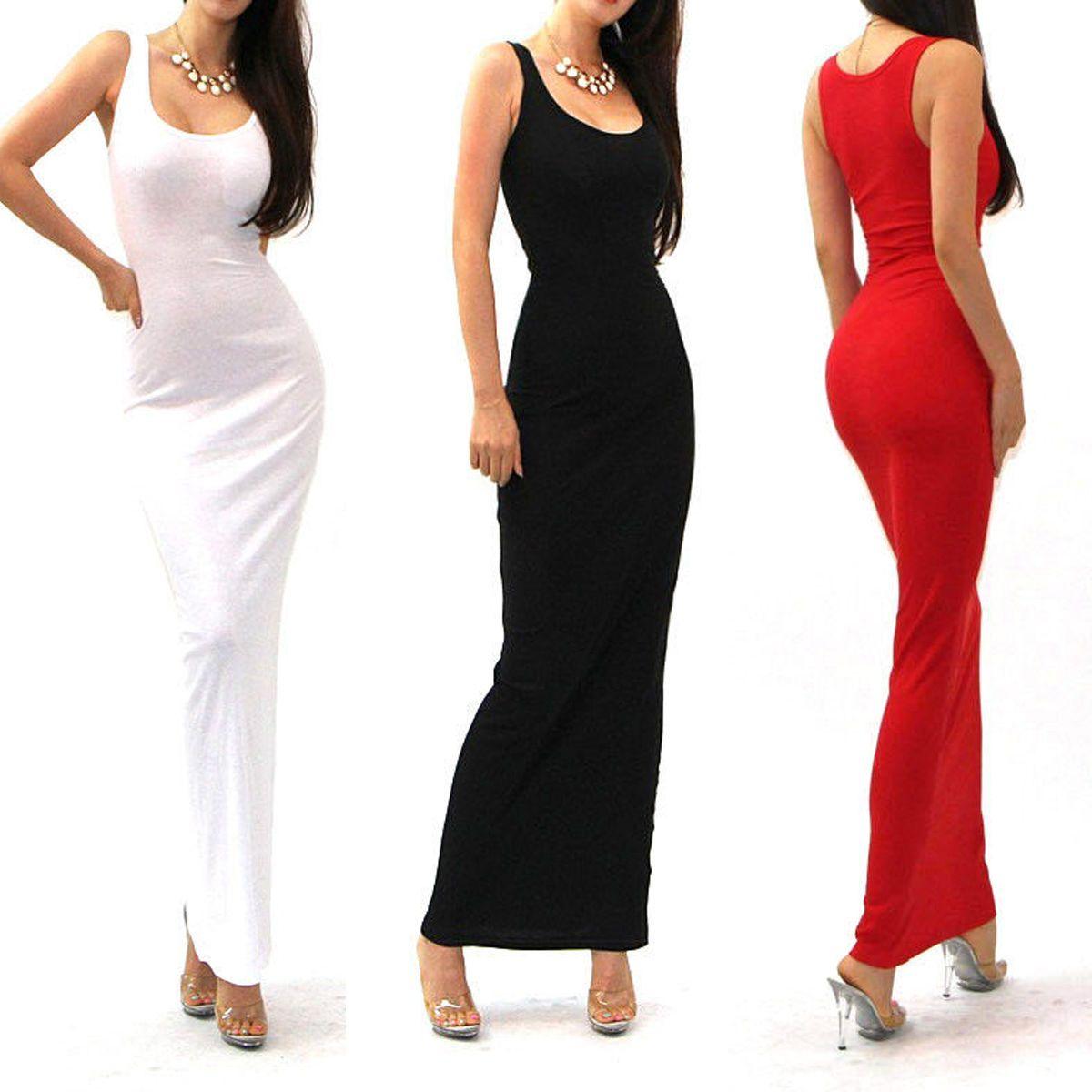 Fashion Sexy Women Sleeveless Bodycon Long Party Evening Dress Slim
