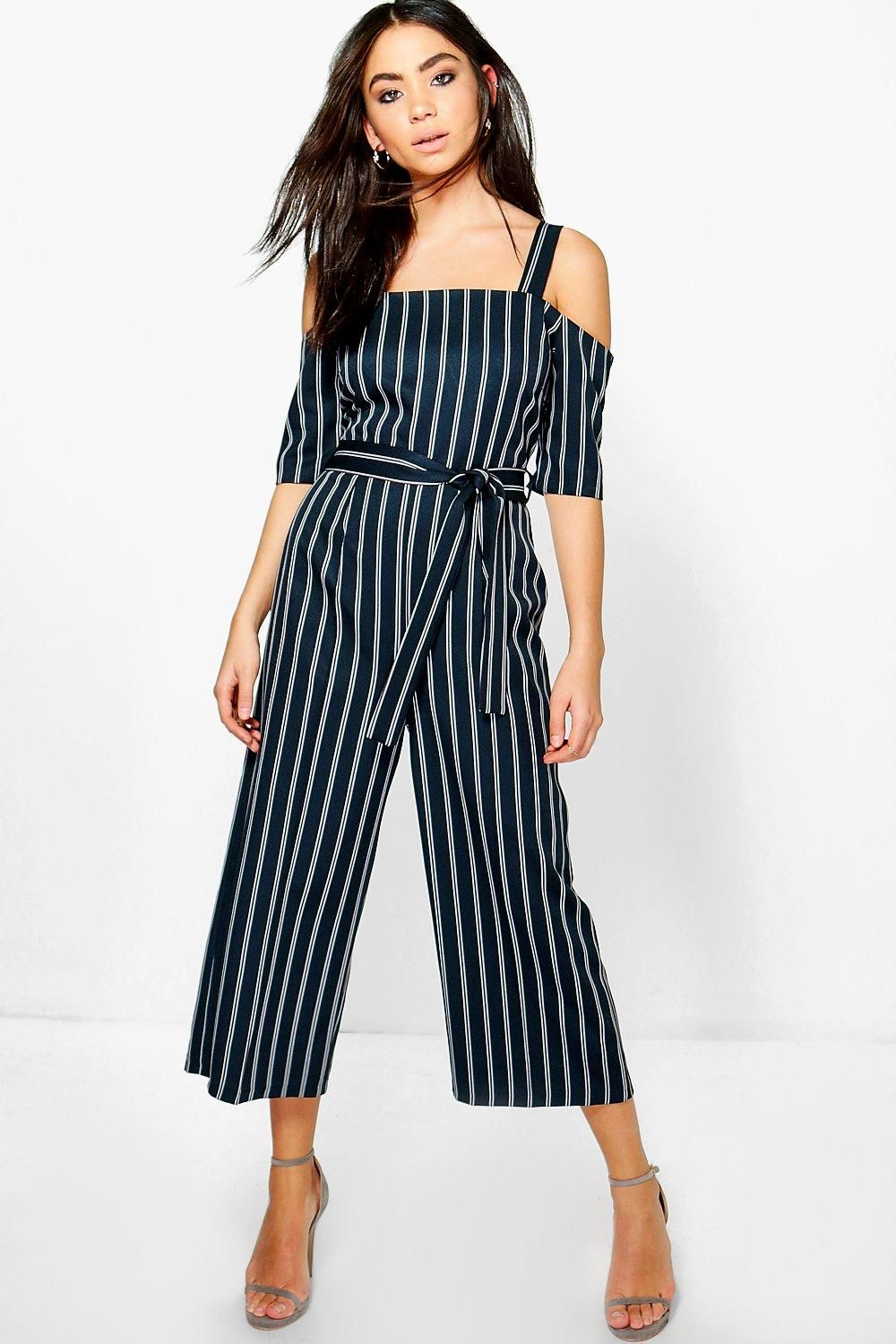 0206a240d21 Click here to find out about the Kimy Cold Shoulder Culotte Pinstripe  Jumpsuit from Boohoo