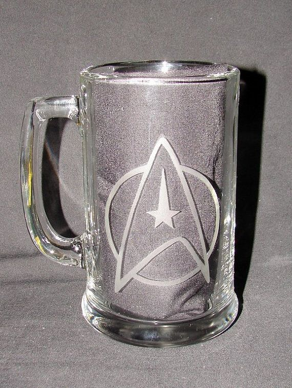 Star Trek StarFleet Command Logo Hand Etched on Beer Mug or Pint Glass