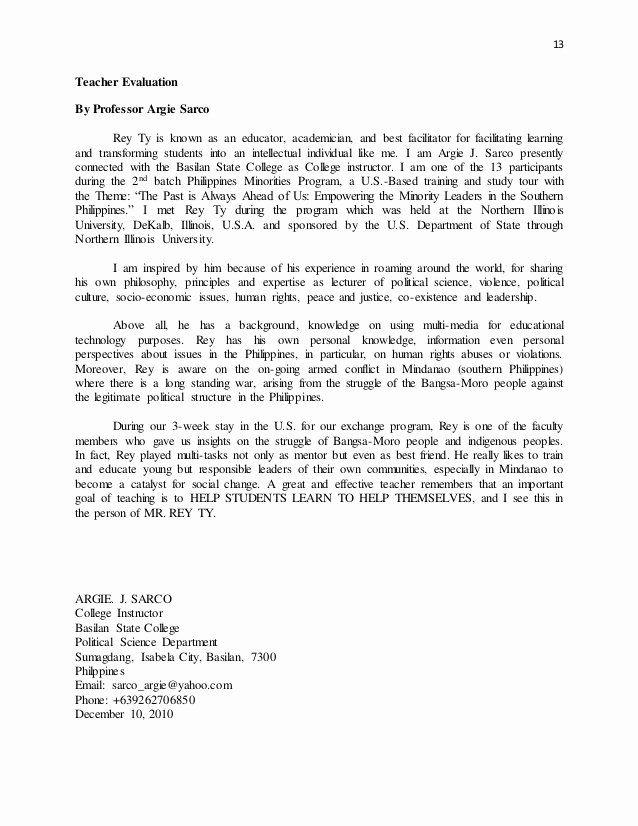 Sample Peer Recommendation Letter Lovely Rey Ty Pilation Teacher Evaluation Letters In 2020 Letter Of Recommendation Formal Business Letter Business Letter Template