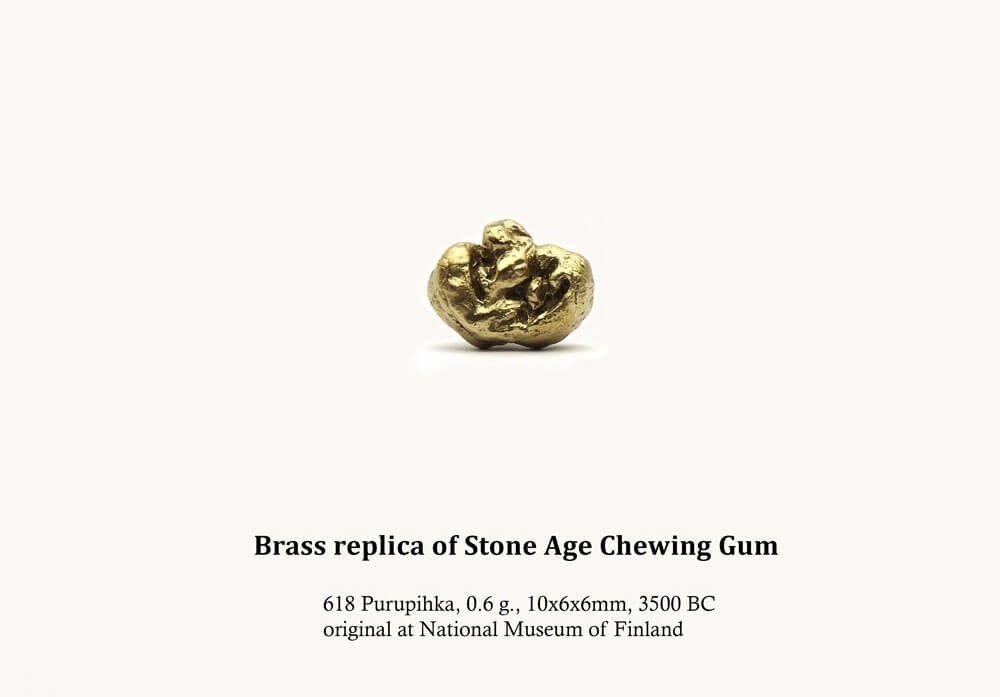 Brass Replica of Stone Age Chewing Gum, brass, 10 mm x 6 mm x 6 mm, 2013