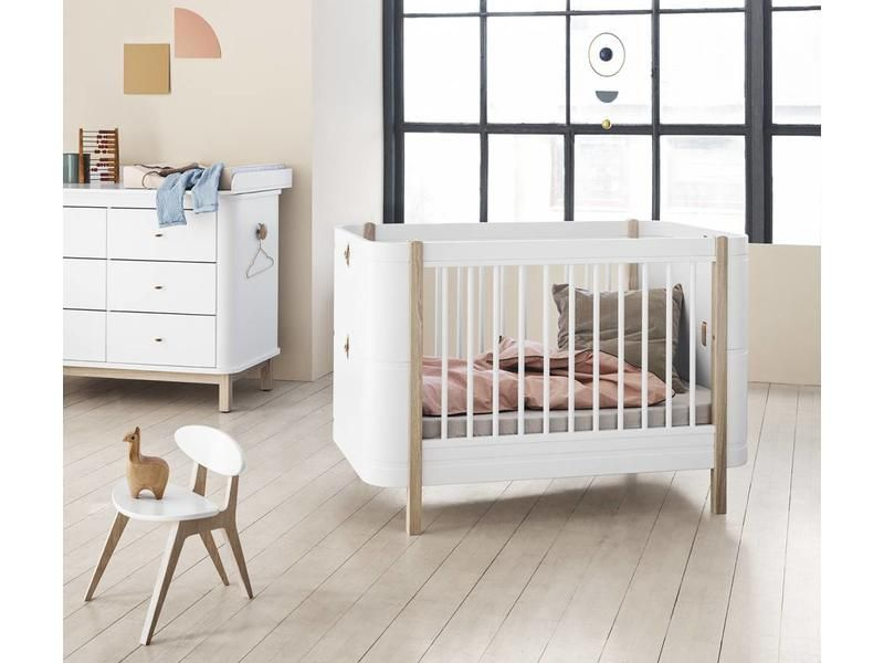 Oliver Furniture Babybett Wood Mini Weiß Eiche - Kinder Hochbett Oliver Furniture