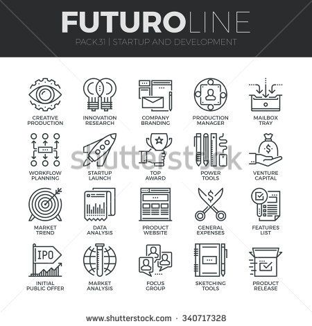 Modern thin line icons set of startup business and launch new product on market. Premium quality outline symbol collection. Simple mono linear pictogram pack. Stroke vector logo concept, web graphics.