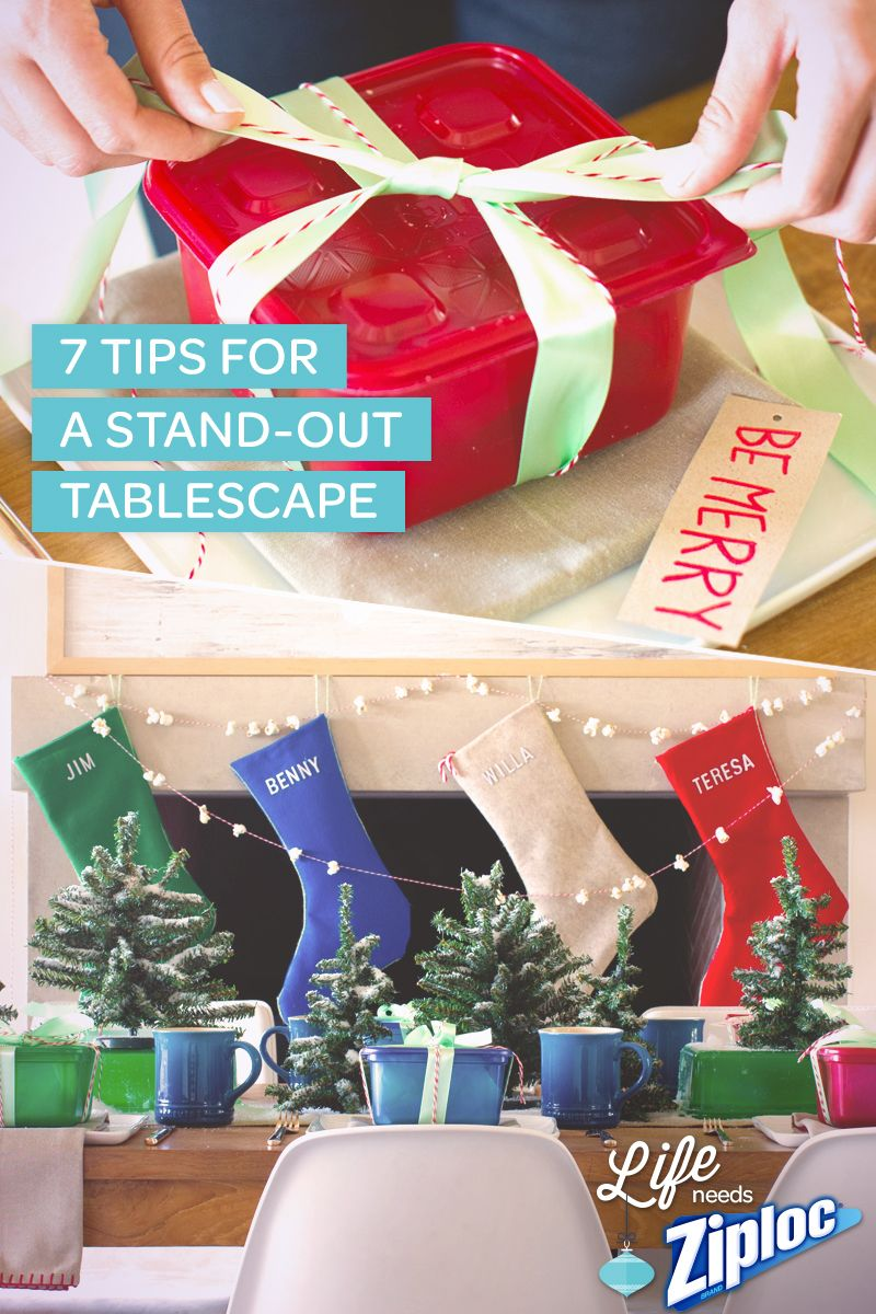 Helpful tips for creating an elaborate tablescape in a jiffy! Fantastic ideas for Ziploc® holiday containers and easy recipes to impress guests, even when you're pressed for time. Looks incredible!
